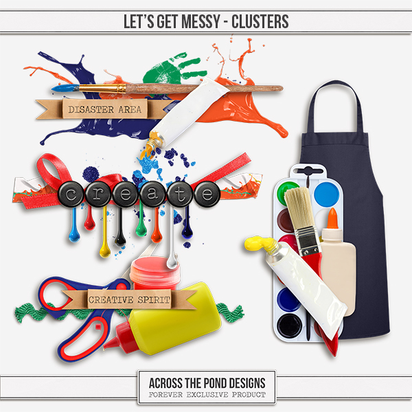 Let's Get Messy - Clusters Digital Art - Digital Scrapbooking Kits