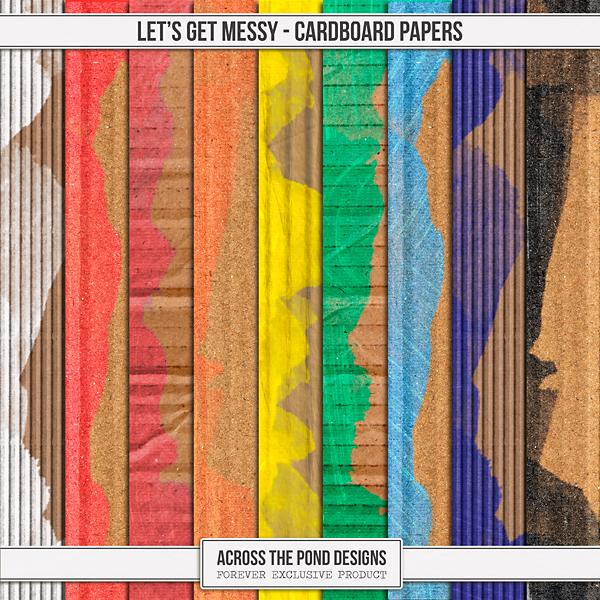 Let's Get Messy - Cardboard Papers Digital Art - Digital Scrapbooking Kits
