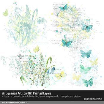 Antiquarian Artistry No. 01 Painted Layers Digital Art - Digital Scrapbooking Kits