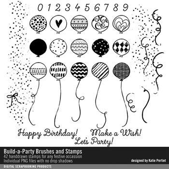 Build-a-party Brushes And Stamps Digital Art - Digital Scrapbooking Kits