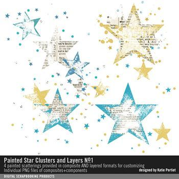 Painted Star Clusters And Layers No. 01 Digital Art - Digital Scrapbooking Kits