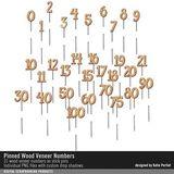 Pinned Wood Veneer Numbers