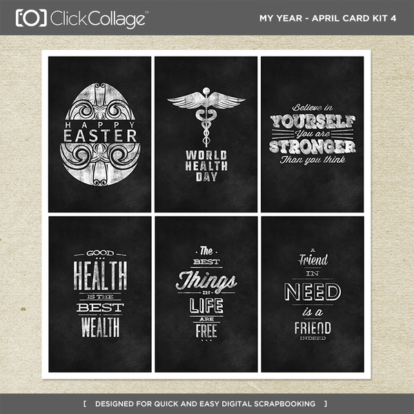 My Year - April Card Kit 4 Digital Art - Digital Scrapbooking Kits