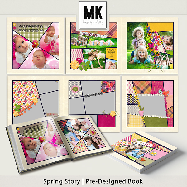 Spring Story Pre-designed Book Digital Art - Digital Scrapbooking Kits