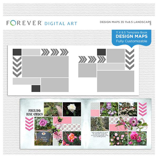 Forever Design Maps 35 11x8.5 Digital Art - Digital Scrapbooking Kits