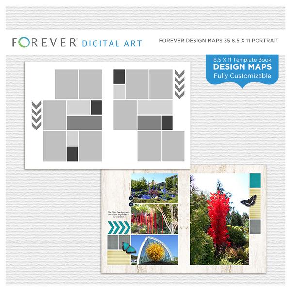 Forever Design Maps 35 8.5x11 Digital Art - Digital Scrapbooking Kits