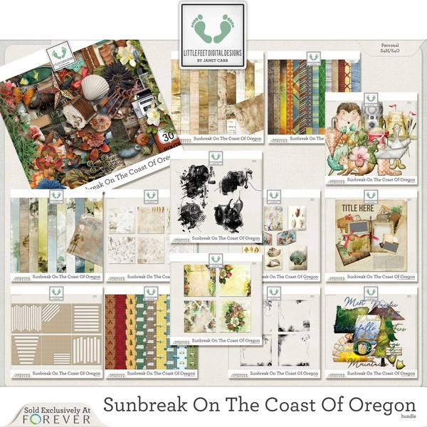 Sunbreak On The Coast Of Oregon Jumbo Bundle Digital Art - Digital Scrapbooking Kits