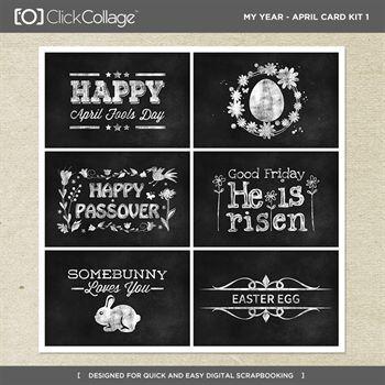 My Year - April Card Kit 1 Digital Art - Digital Scrapbooking Kits