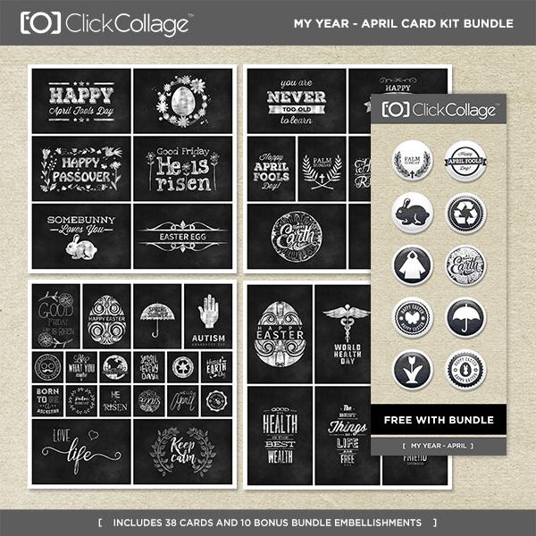 My Year - April Card Kit Bundle Digital Art - Digital Scrapbooking Kits