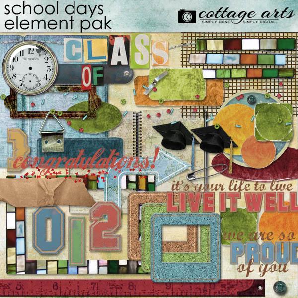 School Days Element Pak Digital Art - Digital Scrapbooking Kits