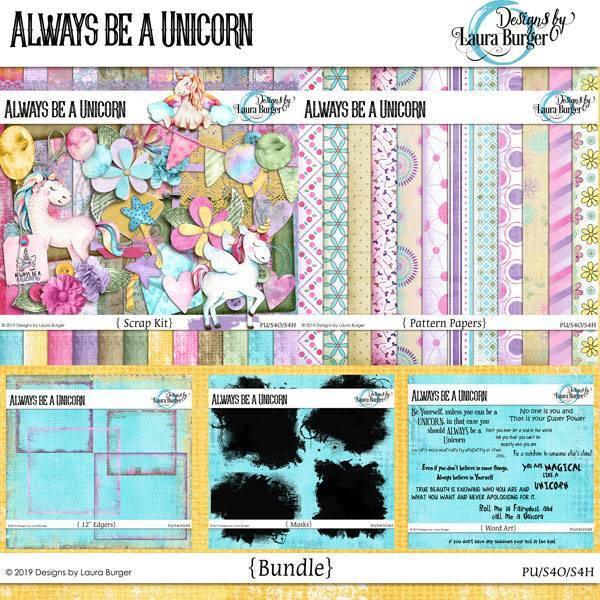Always Be A Unicorn Bundle Digital Art - Digital Scrapbooking Kits