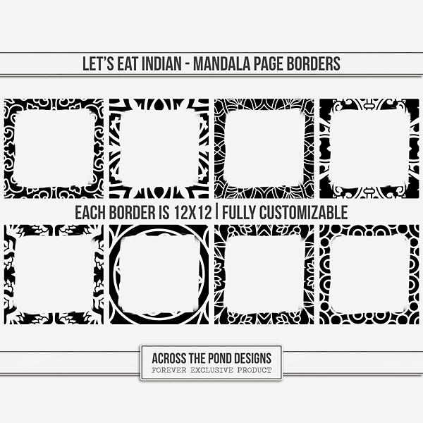 Let's Eat Indian - Mandala Page Borders Digital Art - Digital Scrapbooking Kits