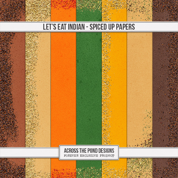 Let's Eat Indian - Spiced Up Papers Digital Art - Digital Scrapbooking Kits