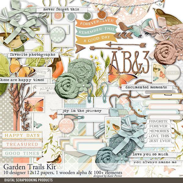 Garden Trails Scrapbook Kit Digital Art - Digital Scrapbooking Kits