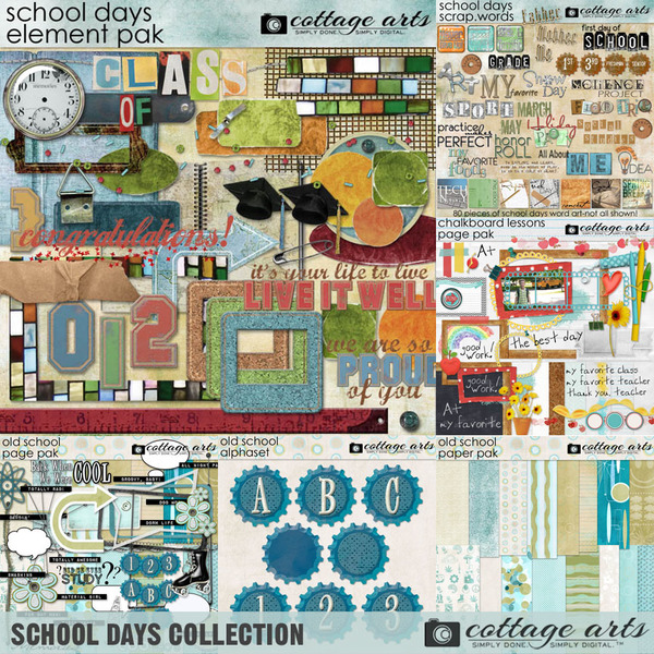 School Days Collection Digital Art - Digital Scrapbooking Kits
