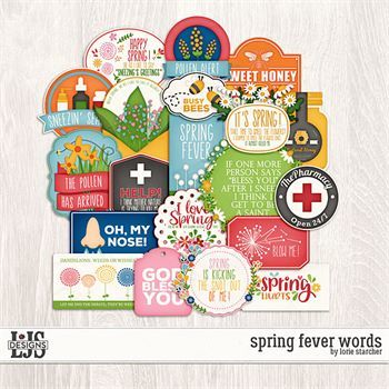 Spring Fever Words Digital Art - Digital Scrapbooking Kits