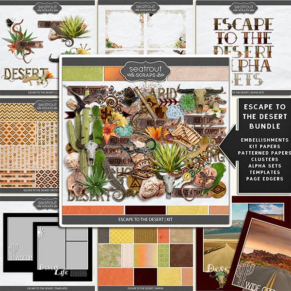 Escape To The Desert Bundle Digital Art - Digital Scrapbooking Kits