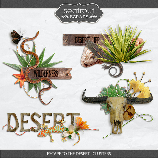Escape To The Desert Clusters Digital Art - Digital Scrapbooking Kits