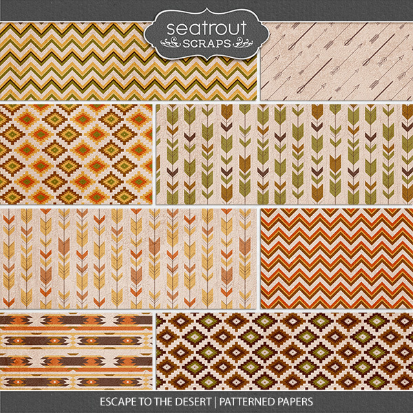 Escape To The Desert Patterned Papers Digital Art - Digital Scrapbooking Kits