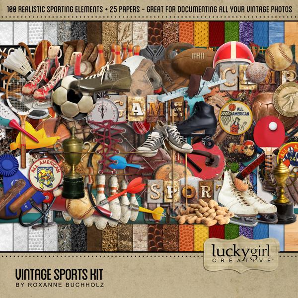 Vintage Sports Kit Digital Art - Digital Scrapbooking Kits