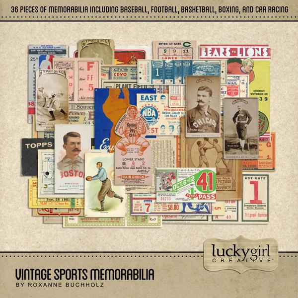 Vintage Sports Memorabilia Digital Art - Digital Scrapbooking Kits
