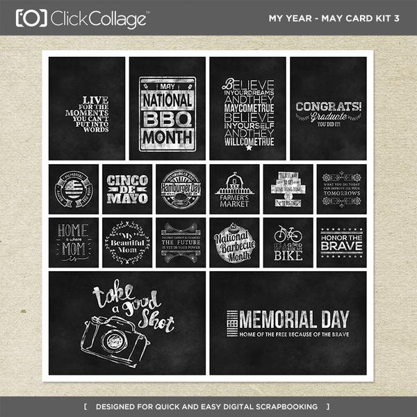 My Year - May Card Kit 3 Digital Art - Digital Scrapbooking Kits
