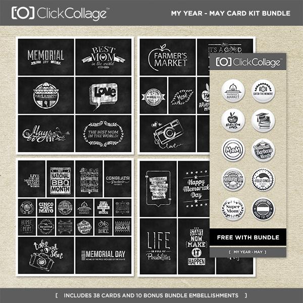 My Year - May Card Kit Bundle Digital Art - Digital Scrapbooking Kits