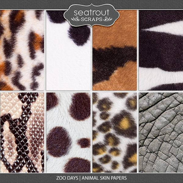 Zoo Days Animal Skin Papers Digital Art - Digital Scrapbooking Kits
