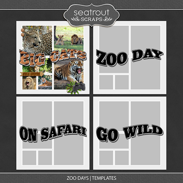 Zoo Days Templates Digital Art - Digital Scrapbooking Kits