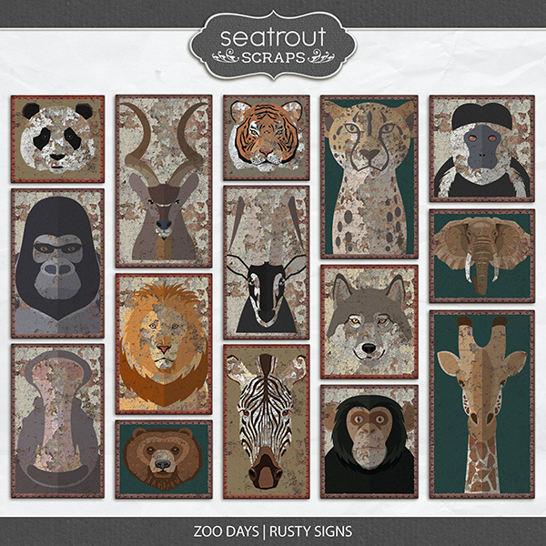 Zoo Days Rusty Signs Digital Art - Digital Scrapbooking Kits