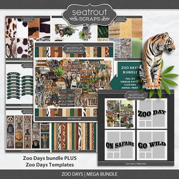 Zoo Days Mega Bundle Digital Art - Digital Scrapbooking Kits