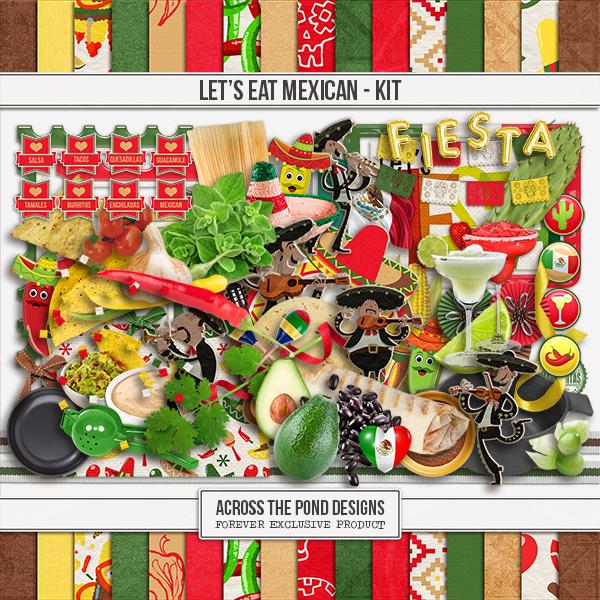 Let's Eat Mexican Page Kit Digital Art - Digital Scrapbooking Kits