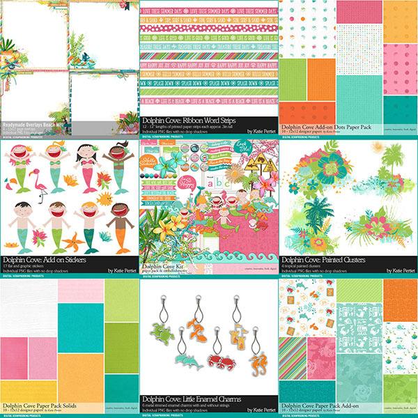 Dolphin Cove Scrapbook Bundle Digital Art - Digital Scrapbooking Kits