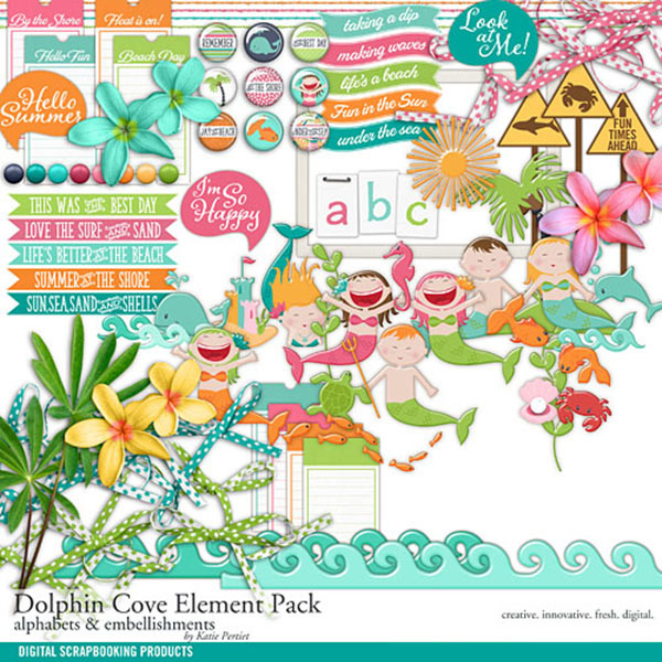 Dolphin Cove Element Pack Digital Art - Digital Scrapbooking Kits