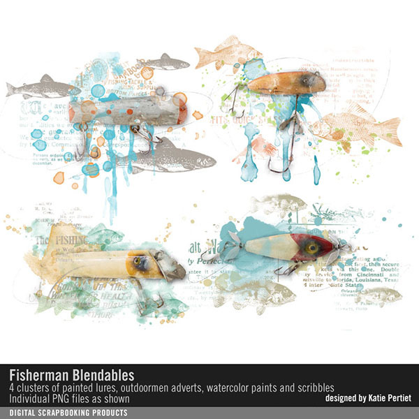 Fisherman Blendables Digital Art - Digital Scrapbooking Kits