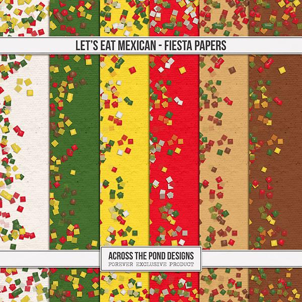 Let's Eat Mexican Fiesta Papers Digital Art - Digital Scrapbooking Kits