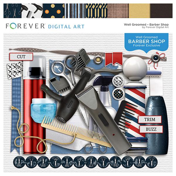 Barber Shop Page Kit Digital Art - Digital Scrapbooking Kits