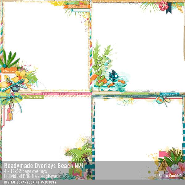 Readymade Overlays Beach No. 01 Digital Art - Digital Scrapbooking Kits