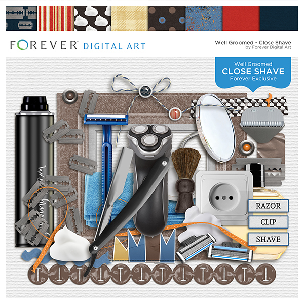 Close Shave Page Kit Digital Art - Digital Scrapbooking Kits
