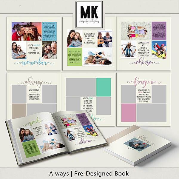 Always Pre-Designed Book Digital Art - Digital Scrapbooking Kits