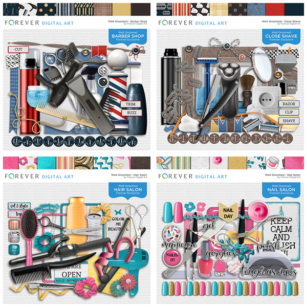 Well Groomed Complete Collection Digital Art - Digital Scrapbooking Kits