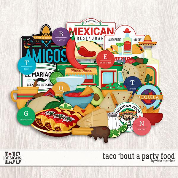 Taco 'Bout A Party Food Digital Art - Digital Scrapbooking Kits