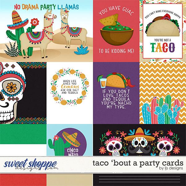 Taco 'Bout A Party Cards Digital Art - Digital Scrapbooking Kits