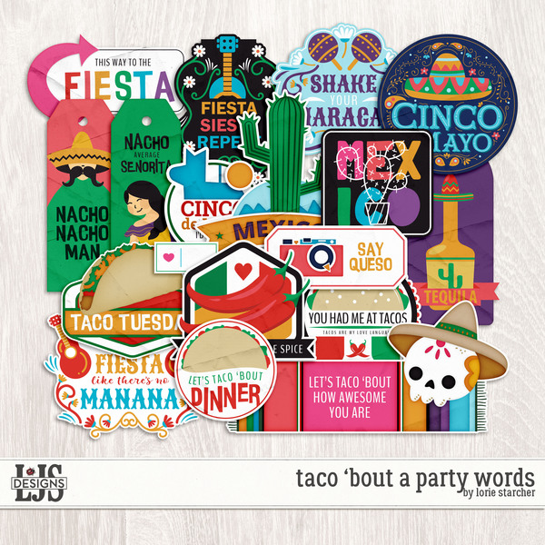 Taco 'Bout A Party Words Digital Art - Digital Scrapbooking Kits