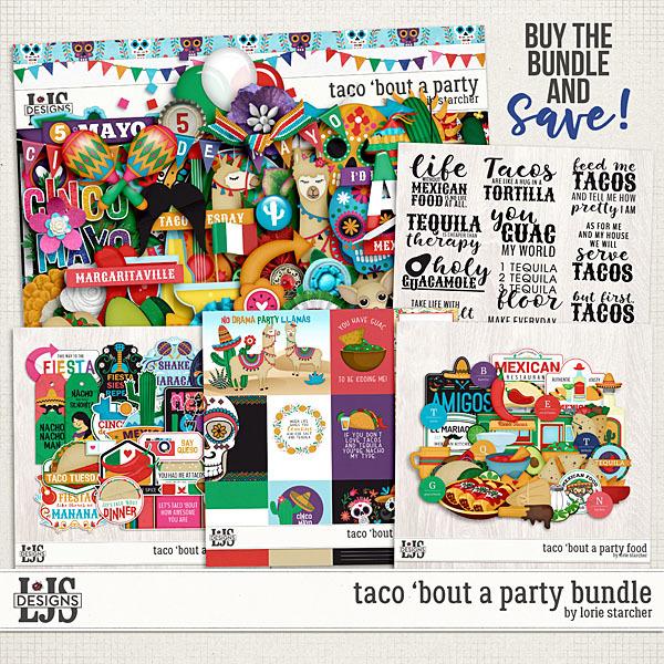 Taco 'Bout A Party Bundle Digital Art - Digital Scrapbooking Kits