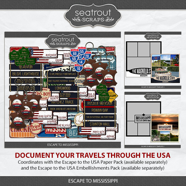 Escape to Mississippi Digital Art - Digital Scrapbooking Kits