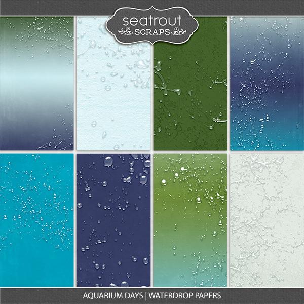 Aquarium Days Waterdrop Papers Digital Art - Digital Scrapbooking Kits