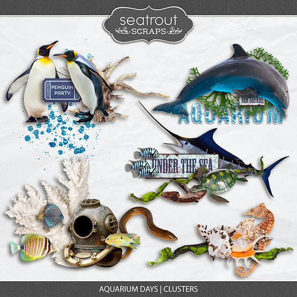 Aquarium Days Clusters Digital Art - Digital Scrapbooking Kits