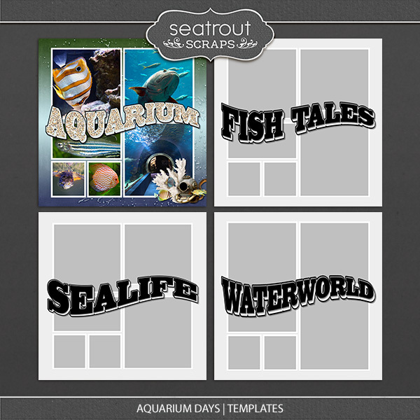 Aquarium Days Templates Digital Art - Digital Scrapbooking Kits