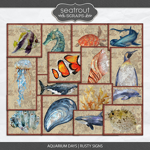 Aquarium Days Rusty Signs Digital Art - Digital Scrapbooking Kits